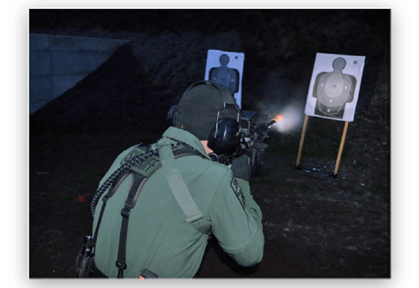 Live fire at a low light patrol rifle qualification course