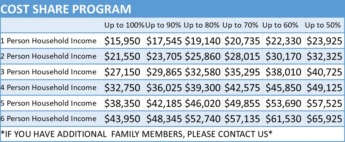 Cost Share Income Table