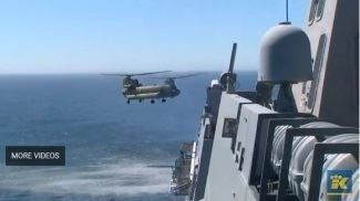 Chinook Helicopter landing on the USS Anchorage- August 2017